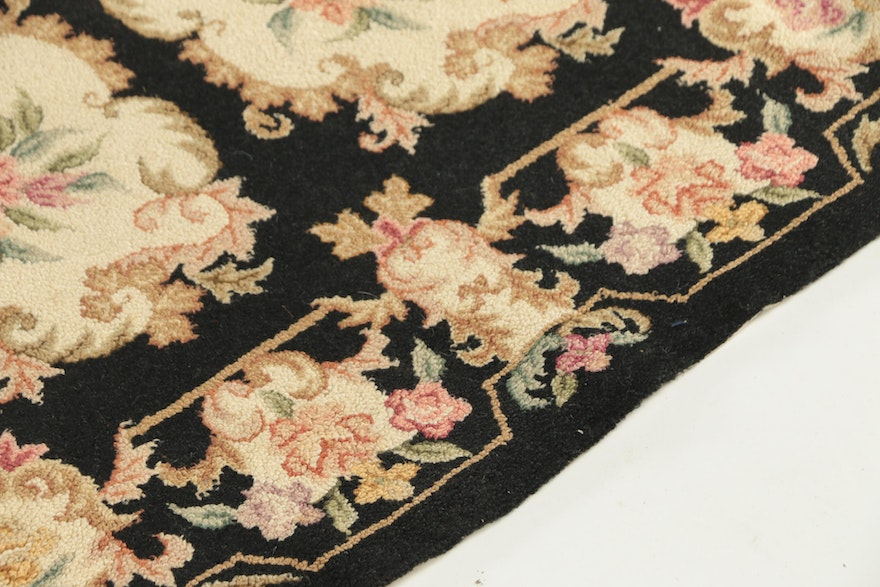 American Hand-Hooked Floral Cotton Area Rug