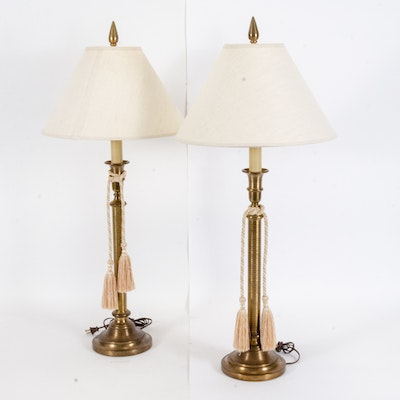 Turned Reeded Brass Table Lamps with Satin Tassels and Linen Bell Shades