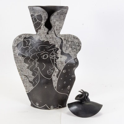 Thrown and Altered Illustrated Sgraffito Porcelain Vase and Figurine