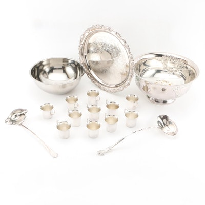 Wallace Silver Plate Punch Cups, Punch Bowl and Other Serveware