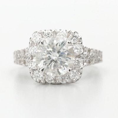 14K White Gold 3.03 CTW Diamond Ring