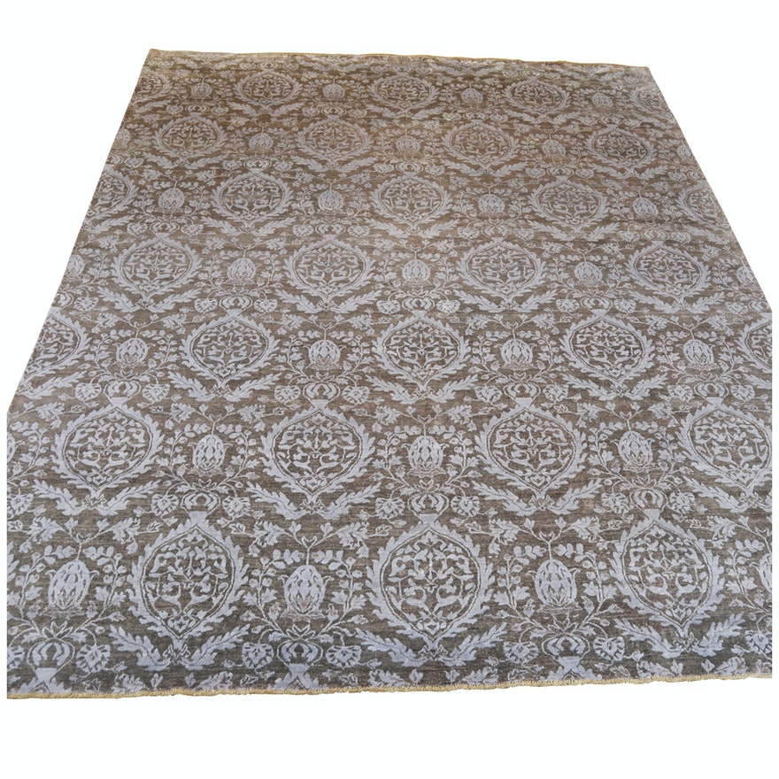Hand-Knotted Indian Transitional Wool and Viscose Rug from The Rug Gallery