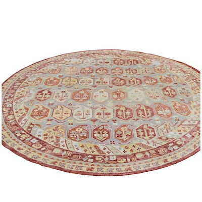 Hand-Knotted Indo-Persian Boteh Round Wool Rug from The Rug Gallery