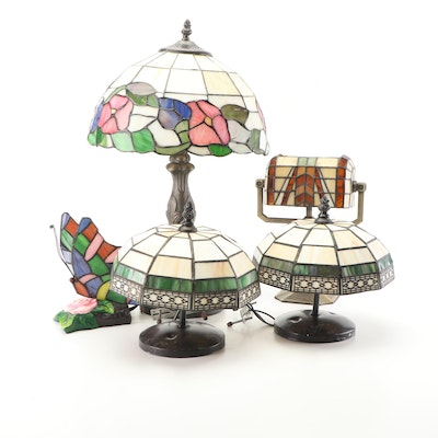 Stained Glass Lamps and Light Fixtures Including Banker's Style Votive Lamp