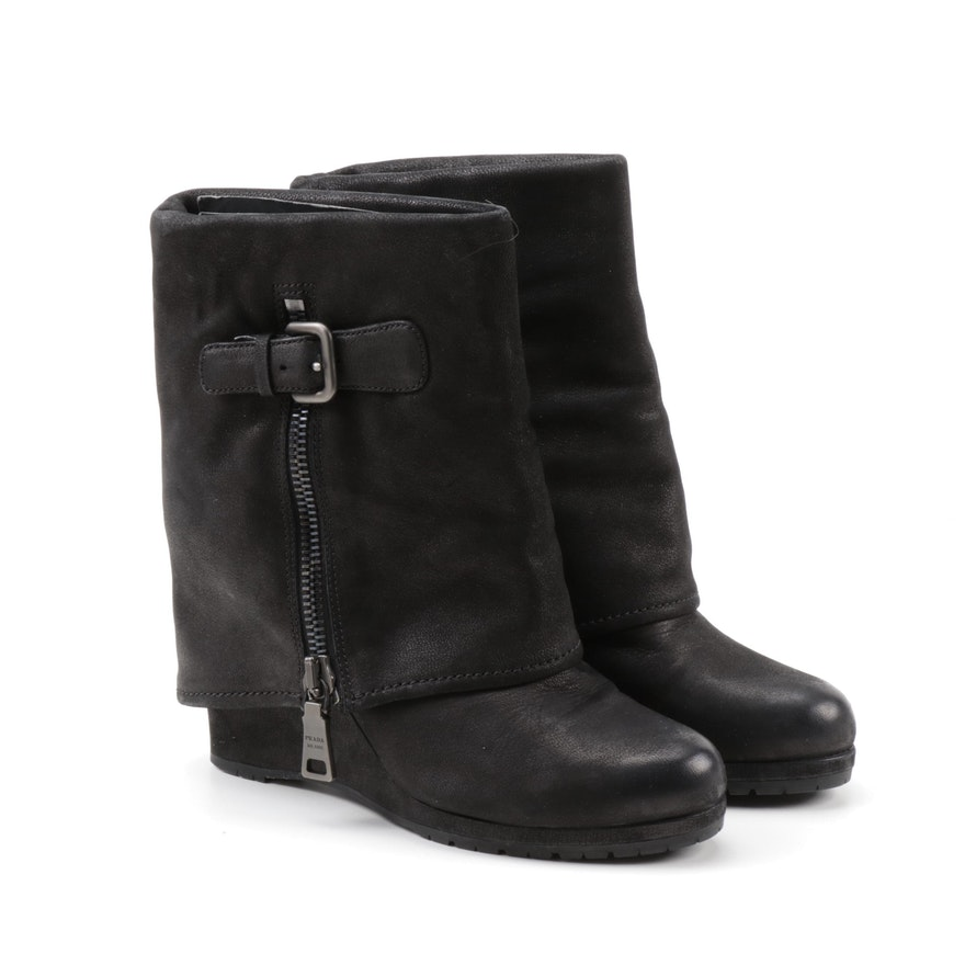 Prada Black Nubuck Leather Fold-Over Wedge Boots