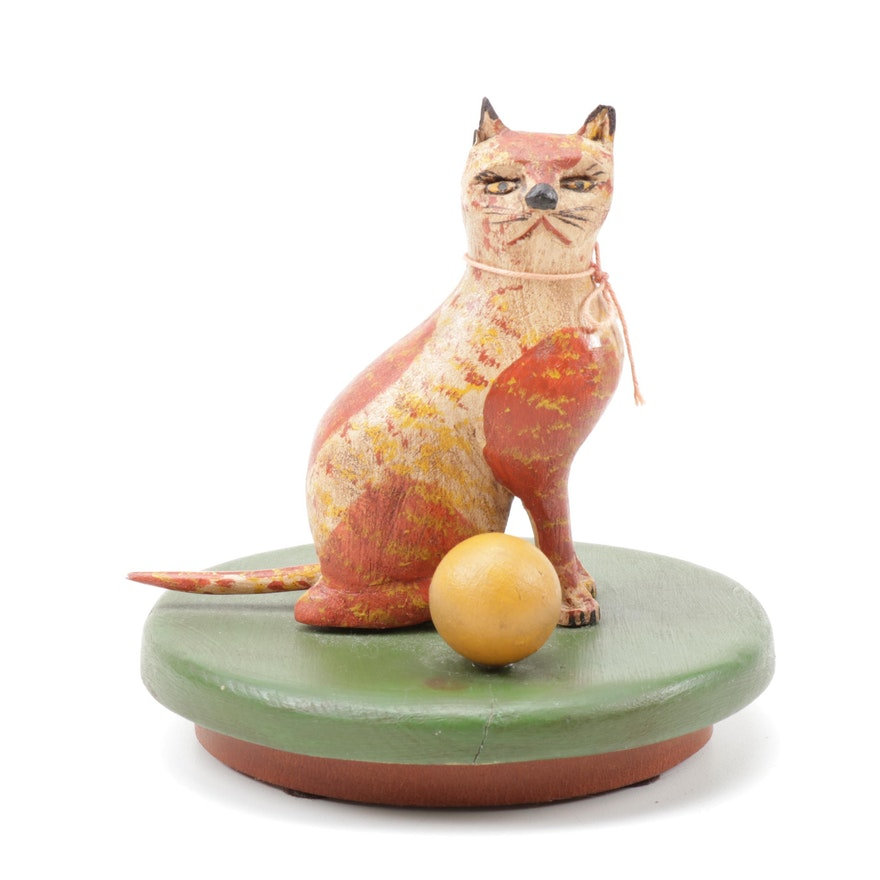 Walter and June Gottshall Folk Art Carved Wooden Cat Sculpture
