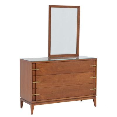 Walnut Dresser with Mirror by Basic Witz Furniture, Mid-Century