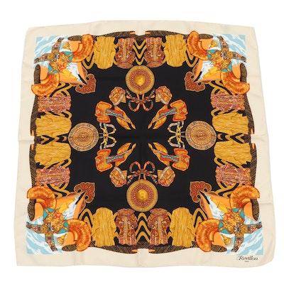 Revillon Paris Saddle Pattern Silk Scarf, Vintage