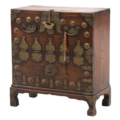 Korean Elm Wood Campaign Style Chest, Early 20th Century