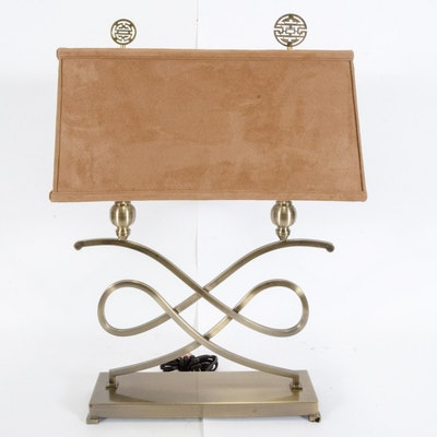 Brushed Brass-Finished Double Table Lamp