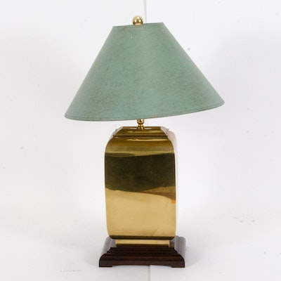 Chinese Inspired Brass Table Lamp with Painted Bell Shade