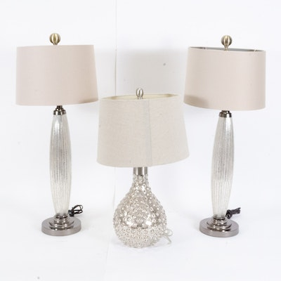 Contemporary Mercury Glass Style Table Lamps