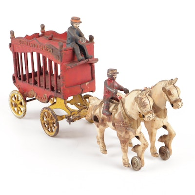 Vintage Kenton Cast Iron Toy Overland Circus Wagon