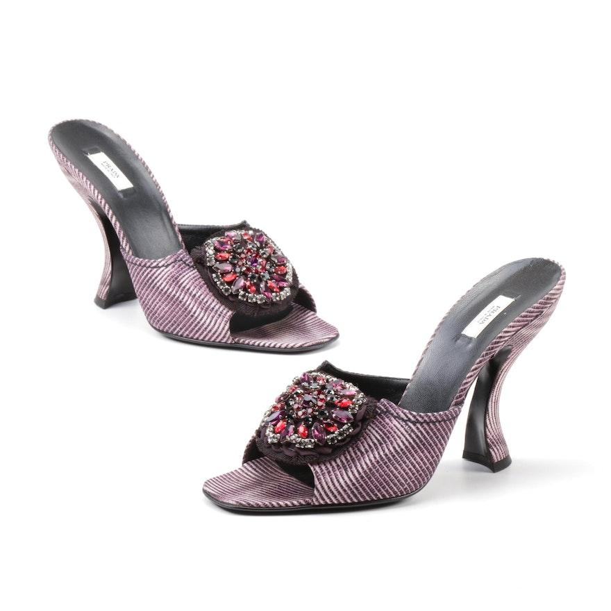Prada Lilac Faille Digitale Rhinestone Striped Curve Sculpted Heel Slides