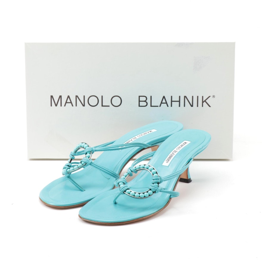 Manolo Blahnik Blue Leather Ring Kitten Heel Sandals