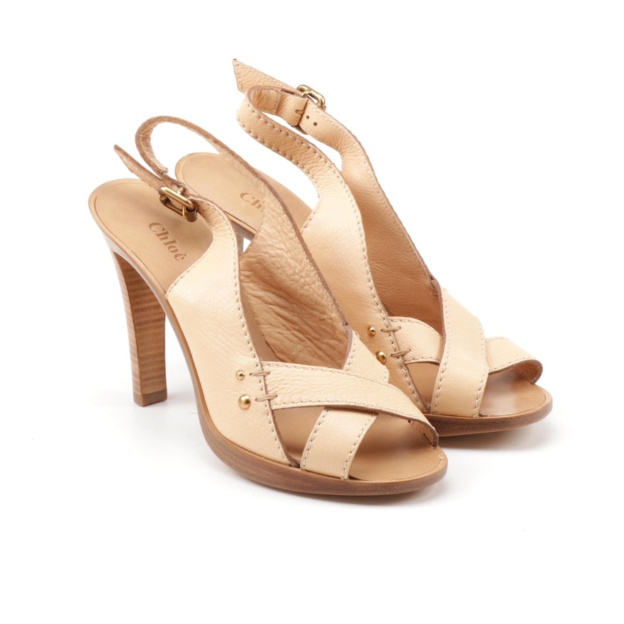 Chloé Nude Leather Cross Toe Platform Slingback Sandals