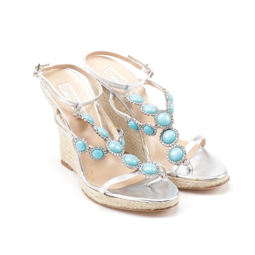 3f80d965a15 Michael Kors Santorin Metallic Silver Leather Espadrille Wedge Sandals
