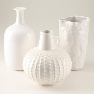 Modern Style White Vase Grouping Featuring Jasba