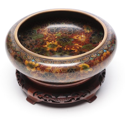 Chinese Cloisonné Brushwasher with Reticulated Wood Stand
