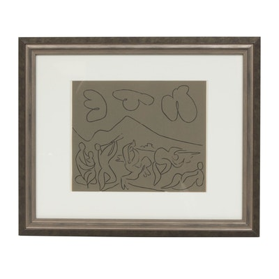 "Pablo Picasso Linoleum Cut ""Bacchanal with Mother and Child"""