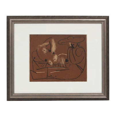 "Pablo Picasso Linoleum Cut ""Reclining Woman and Picador Eating Grapes"""