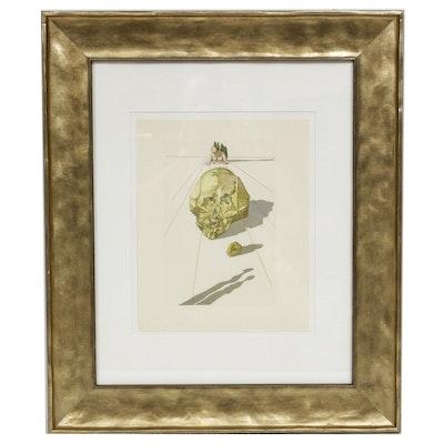 "Salvador Dalí Wood Engraving ""Hell Canto 23: Le Supplice des Hypocrites"""
