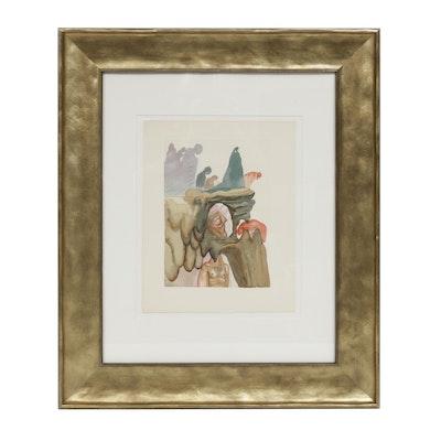 """Salvador Dalí Wood Engraving """"Hell Canto 22: Les Prévaricateurs"""""""