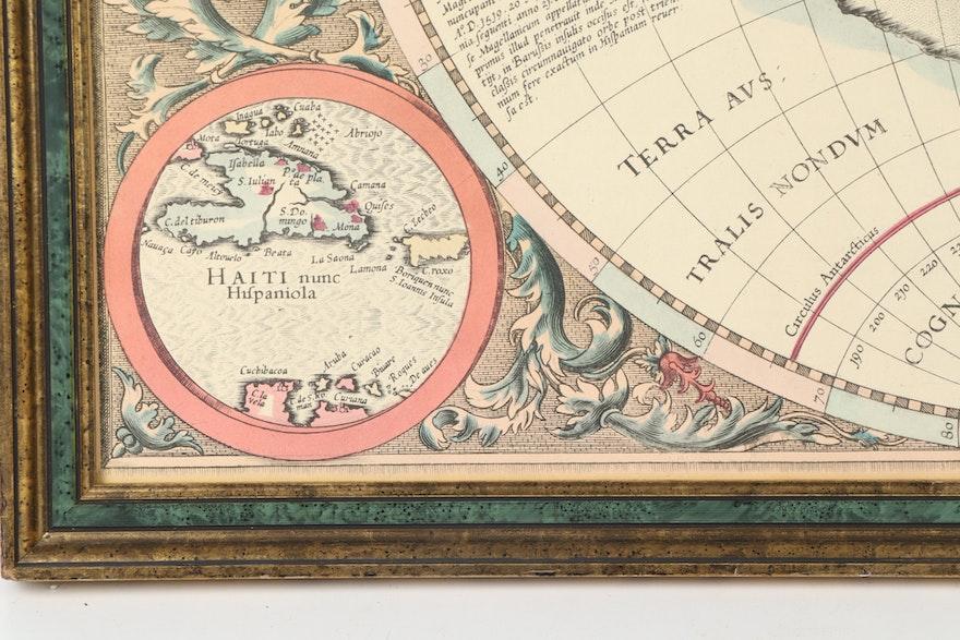 "Lithograph Reproduction Of ""America Siue India Nova"" Map"
