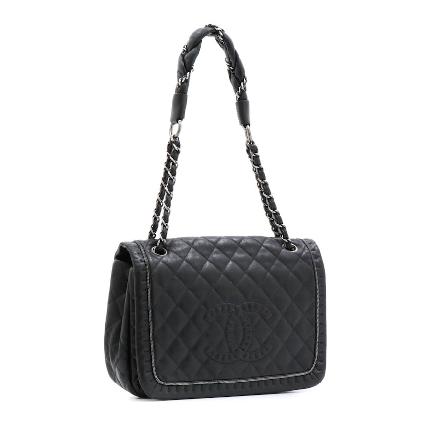 Chanel Black Quilted Leather Lady Braid Flap Front Handbag