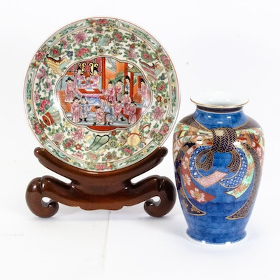 Chinese Hand-Painted Bowl and Imari Porcelain Vase