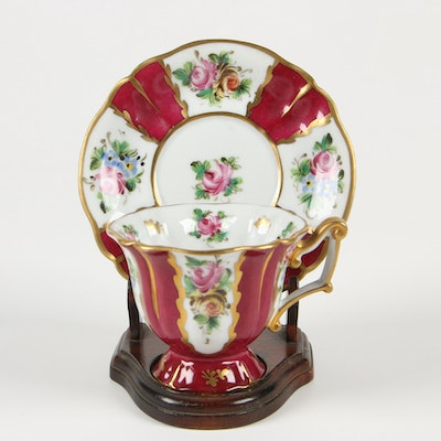 Hand-Painted Porcelain Cup and Saucer Set