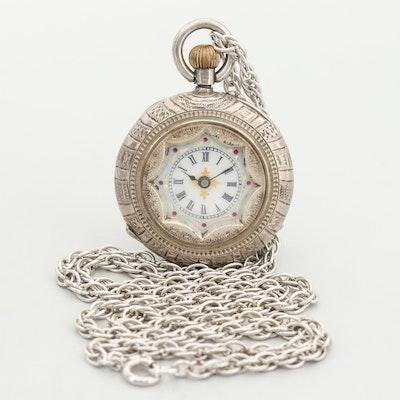 Antique Swiss Sterling Silver Open Face Pocket Watch
