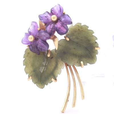 14K Yellow Gold Carved Nephrite and Amethyst Floral Brooch