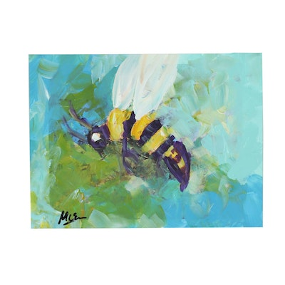 "Claire McElveen Mixed Media Painting ""Bee Abstract"""