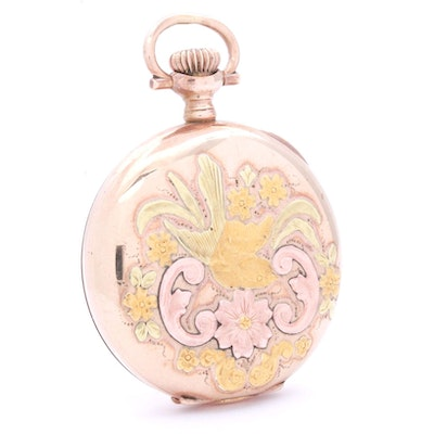 Waltham Rose Gold and Yellow Gold Plated Pocket Watch, Antique
