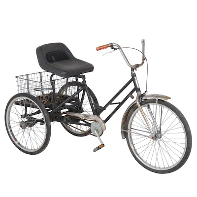 Mohawk Black Tricycle with Basket, 1980s