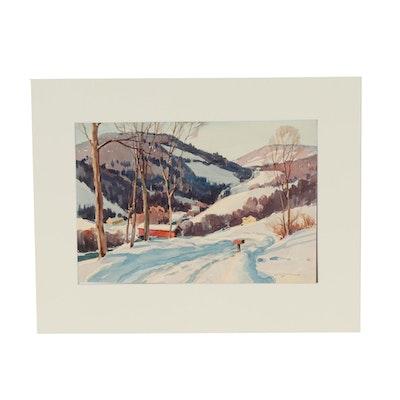 Leo B. Blake Winter Landscape Watercolor Painting