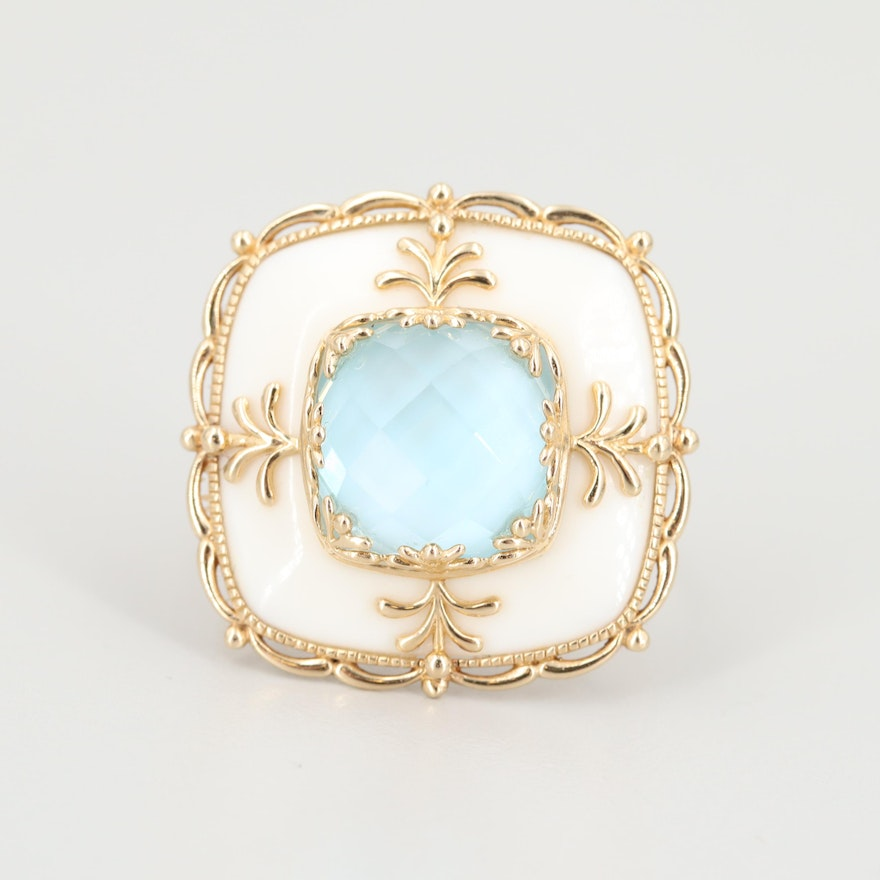 14K Yellow Gold Agate and Blue Topaz Ring