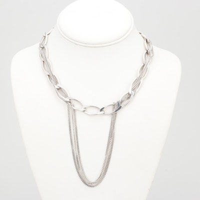 Sterling Silver Curb-Link Chain Intertwined with Strand Chain Necklace
