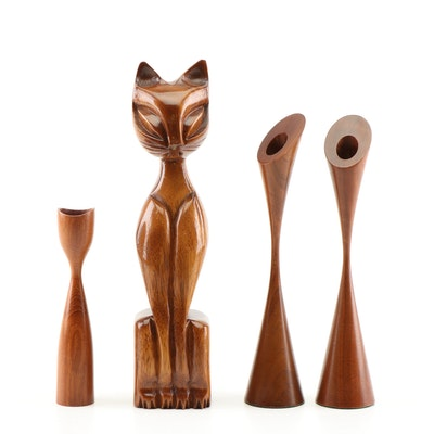 Teak Carved Feline Figurine and Danish Modern Turned Walnut Candlesticks