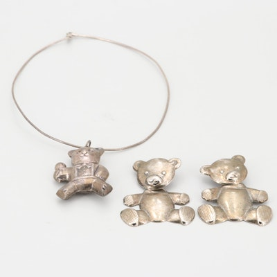 Sterling Silver Teddy Bear Pendant on 800 Silver Chain with Silver Tone Earrings