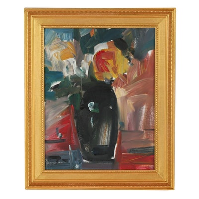 "Jose Trujillo 2019 Oil Painting ""Yellow Roses"""