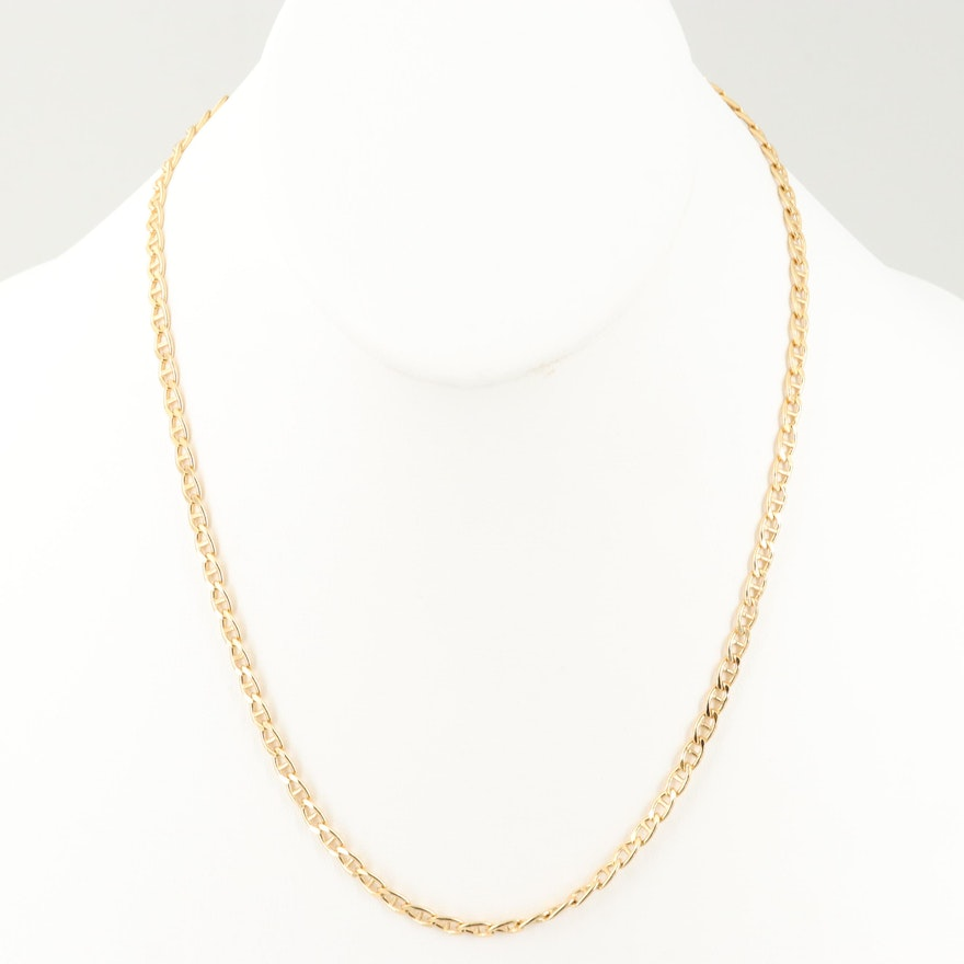 Gold Wash Sterling Silver Mariner Chain Necklace
