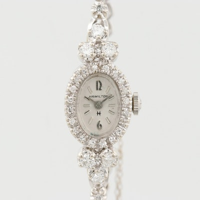 Hamilton 14K White Gold and 1.30 CTW Diamond Wristwatch