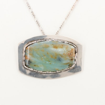 Chrysocolla Sterling Silver Pendant with Chain