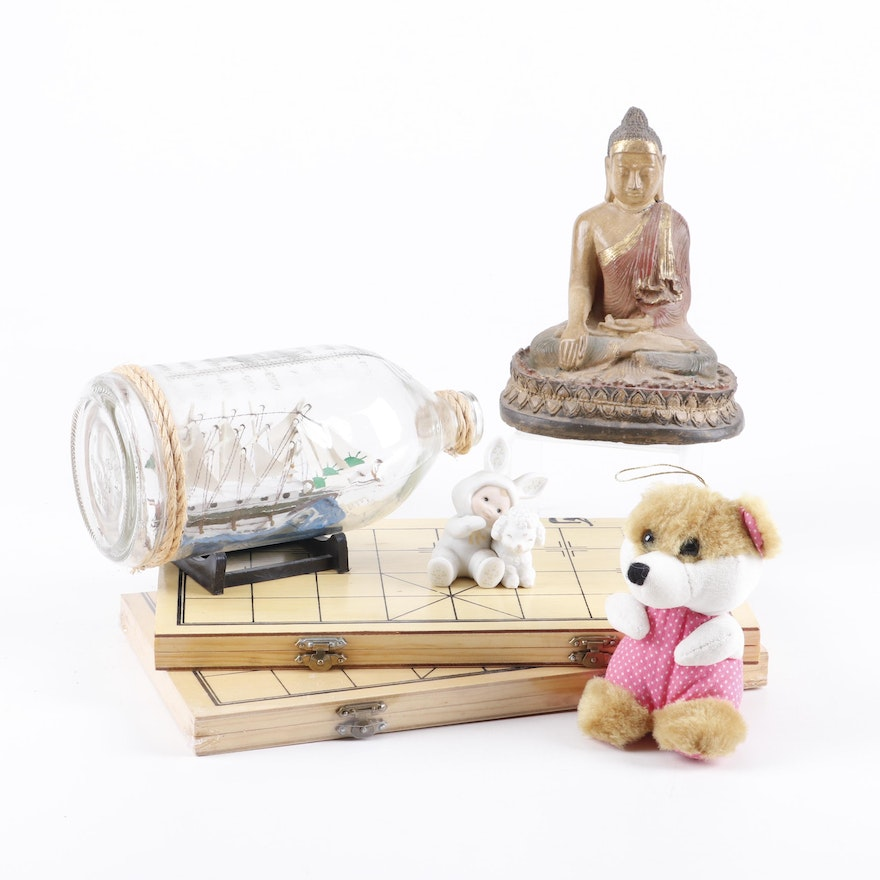 Chinese Chess, Buddha Figurine, Ship in Bottle, Porcelain Figurine and  Plush Toy