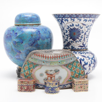 Chinese Cloisonné and Ceramic Vase, Ginger Jar, and Trinket Boxes