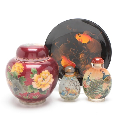Chinese Cloisonné Ginger Jar, Glass Snuff Bottles and Decorative Plate