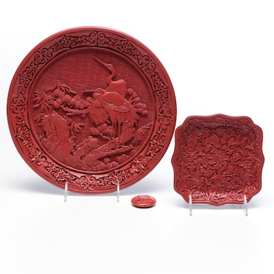Chinese Cinnabar Style Trays and Bead