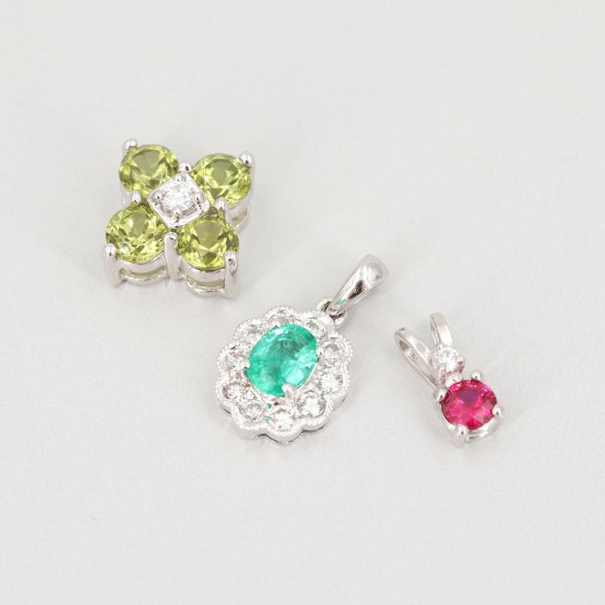 18K and 14K White Gold Emerald, Ruby, Peridot and Diamond Pendants